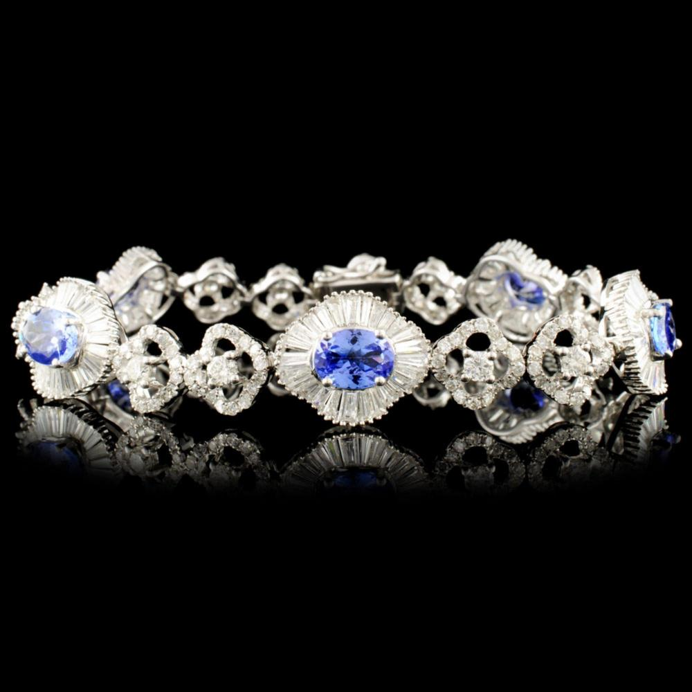 18K Gold 3.55ct Tanzanite & 4.81ctw Diamond Bracel