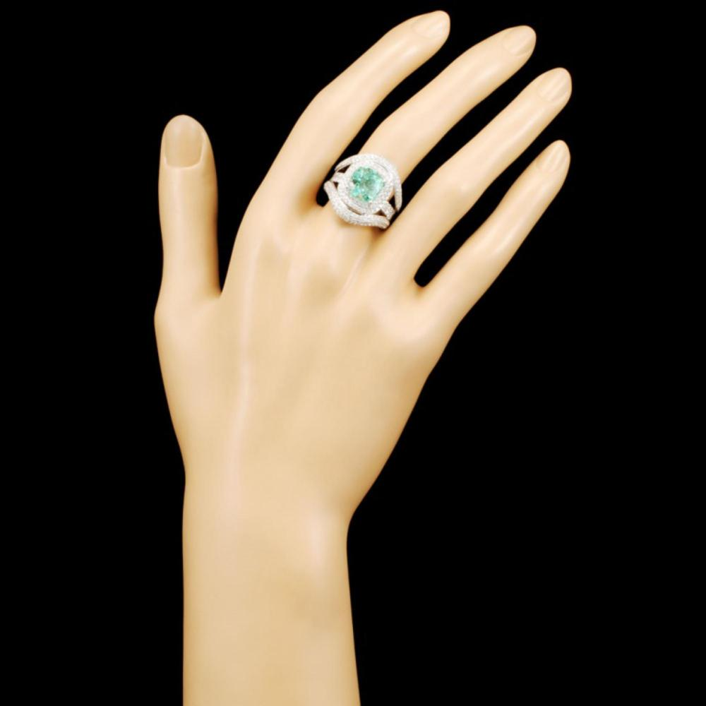 Lot 7: 18K Gold 3.87ct Emerald & 2.13ctw Diamond Ring
