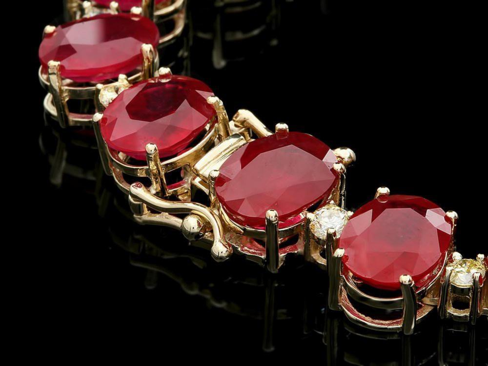 Lot 8: `14k Gold 135.00ct Ruby & 4.00ct Diamond Necklace