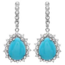 Lot 12: 14K Gold 11ct Turquoise & 2.00ct Diamond Earrings