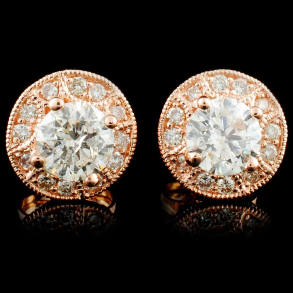 14K Gold 1.29ctw Diamond Earrings