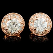 Lot 14: 14K Gold 1.29ctw Diamond Earrings
