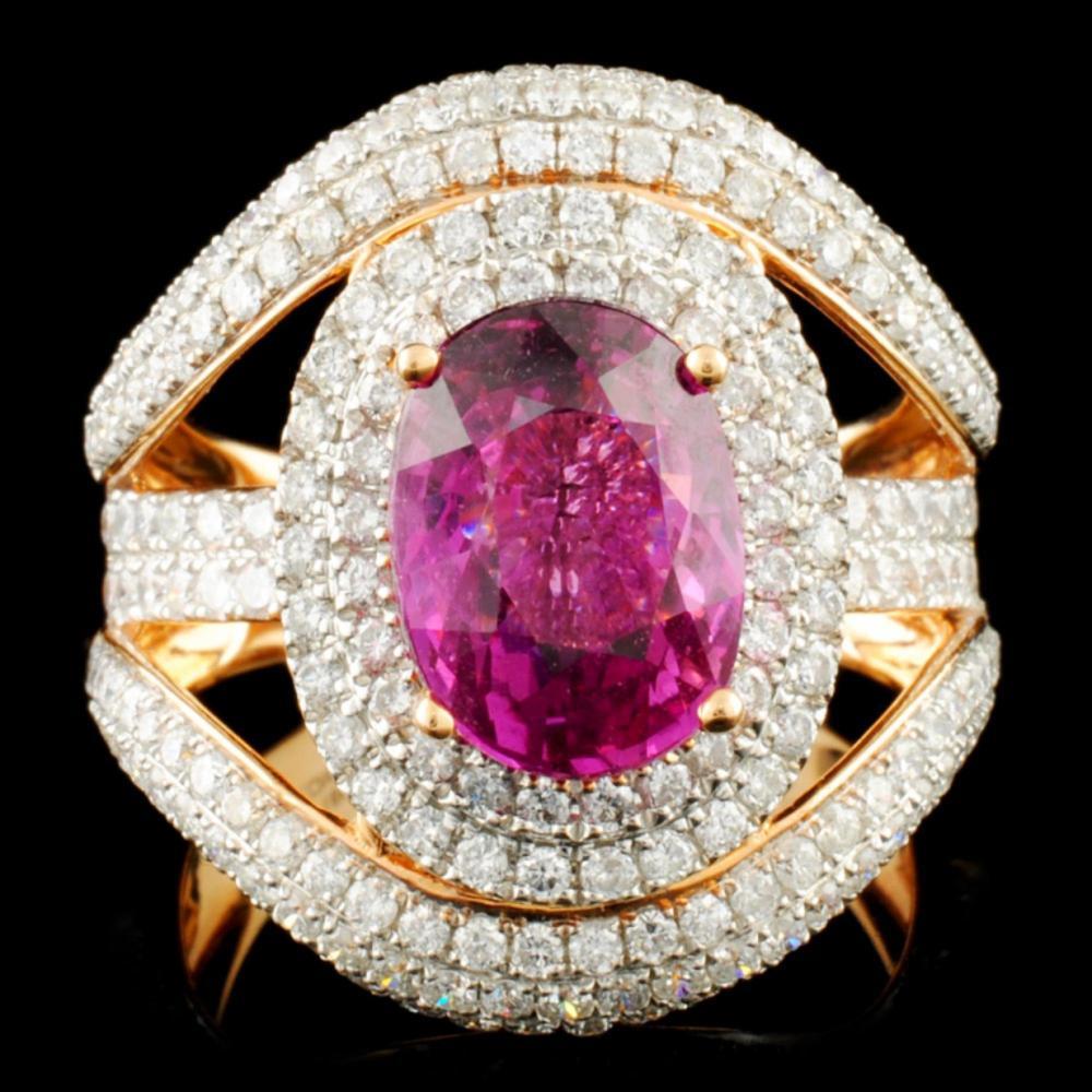 18K Gold 3.91ct Sapphire & 2.06ctw Diamond Ring