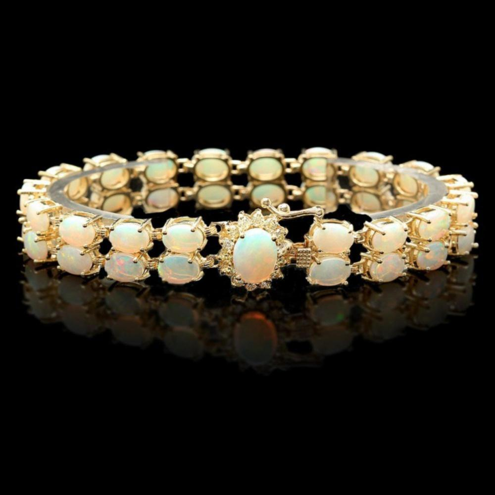 `14k Gold 14.00ct Opal & 0.50ct Diamond Bracelet