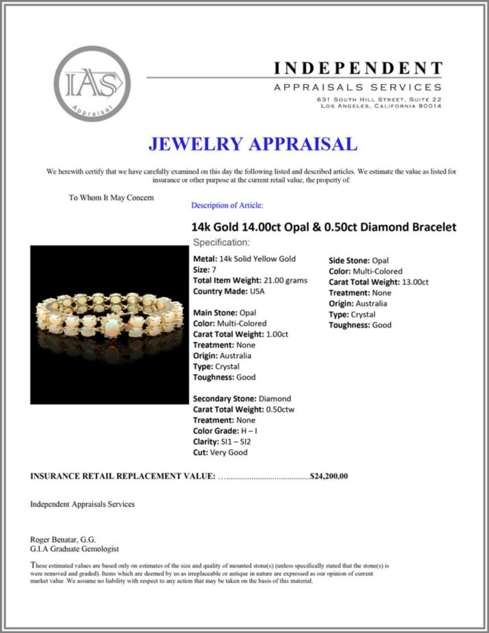 Lot 18: `14k Gold 14.00ct Opal & 0.50ct Diamond Bracelet