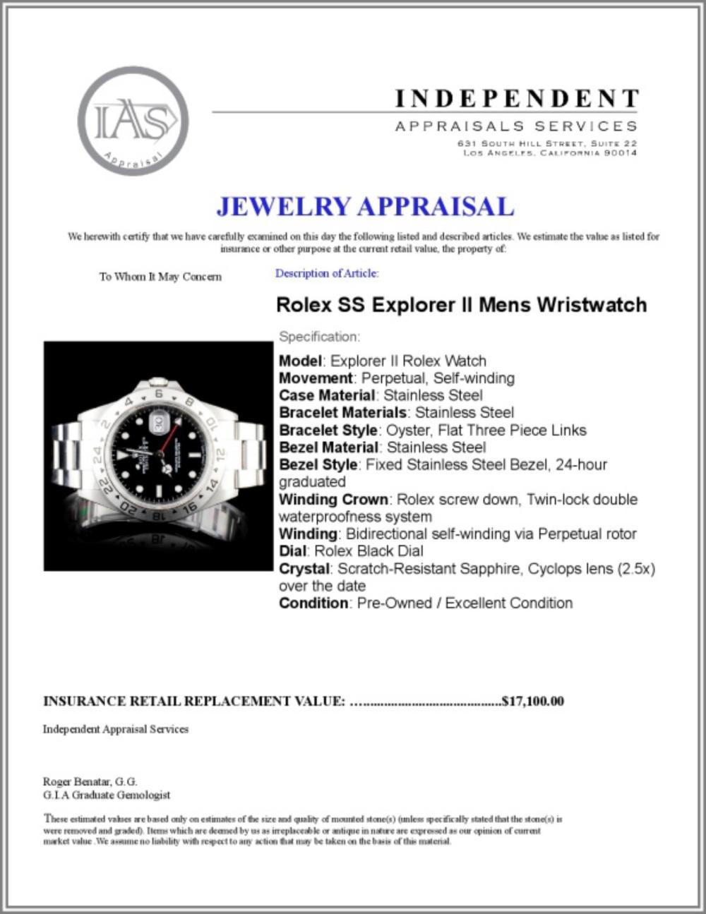 Lot 19: Rolex SS Explorer II Mens 40MM Wristwatch