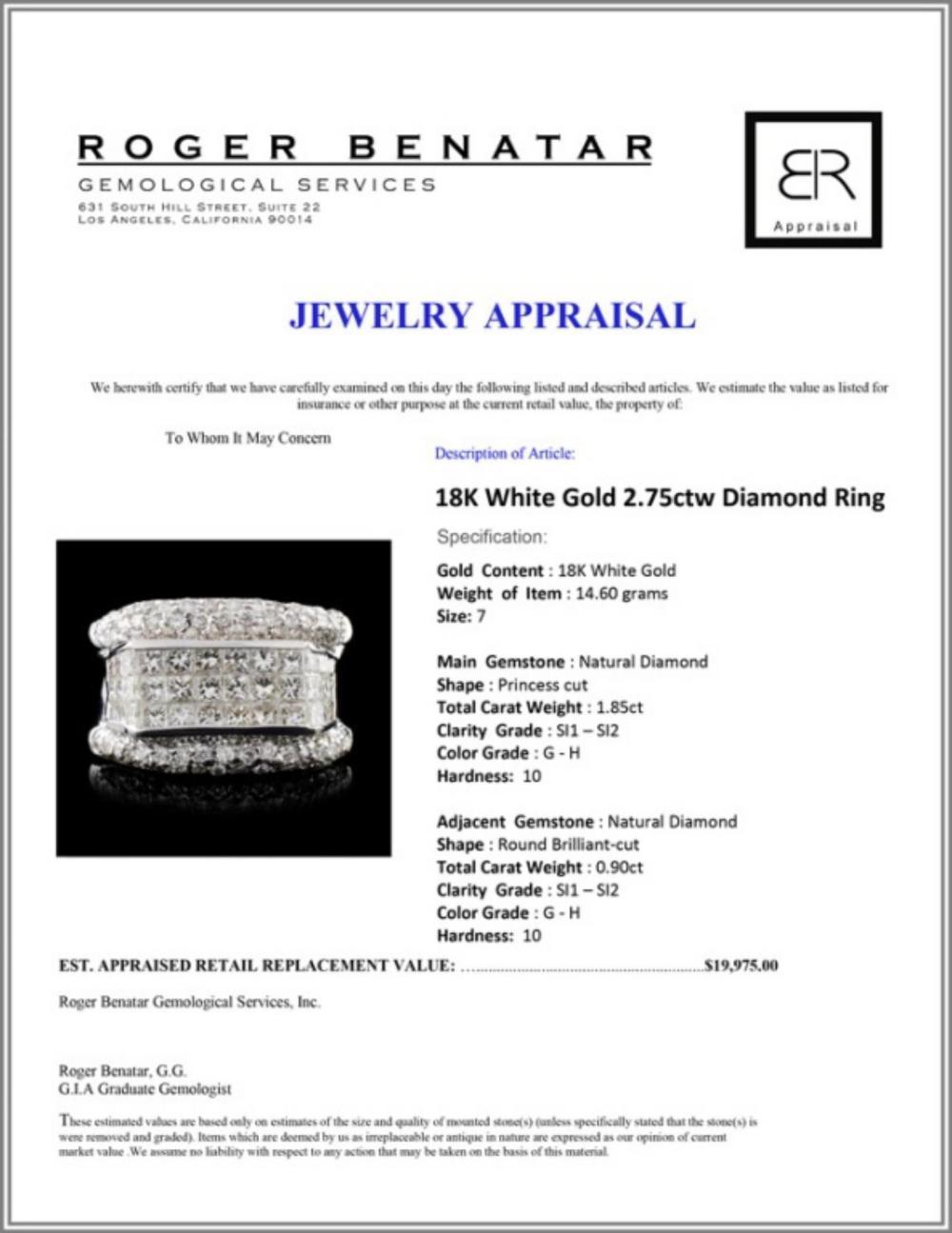 Lot 20: 18K White Gold 2.75ctw Diamond Ring