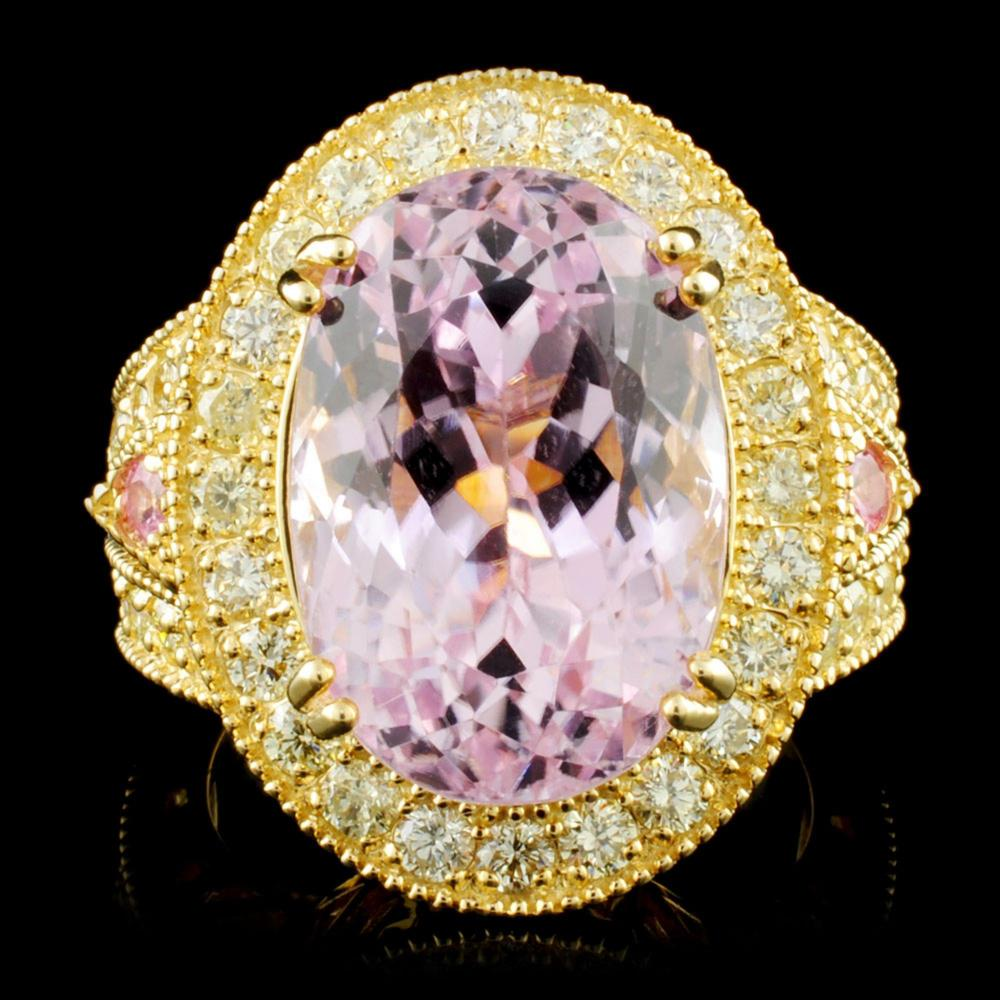 14K Gold 13.84ct Kunzite & 1.72ctw Diamond Ring
