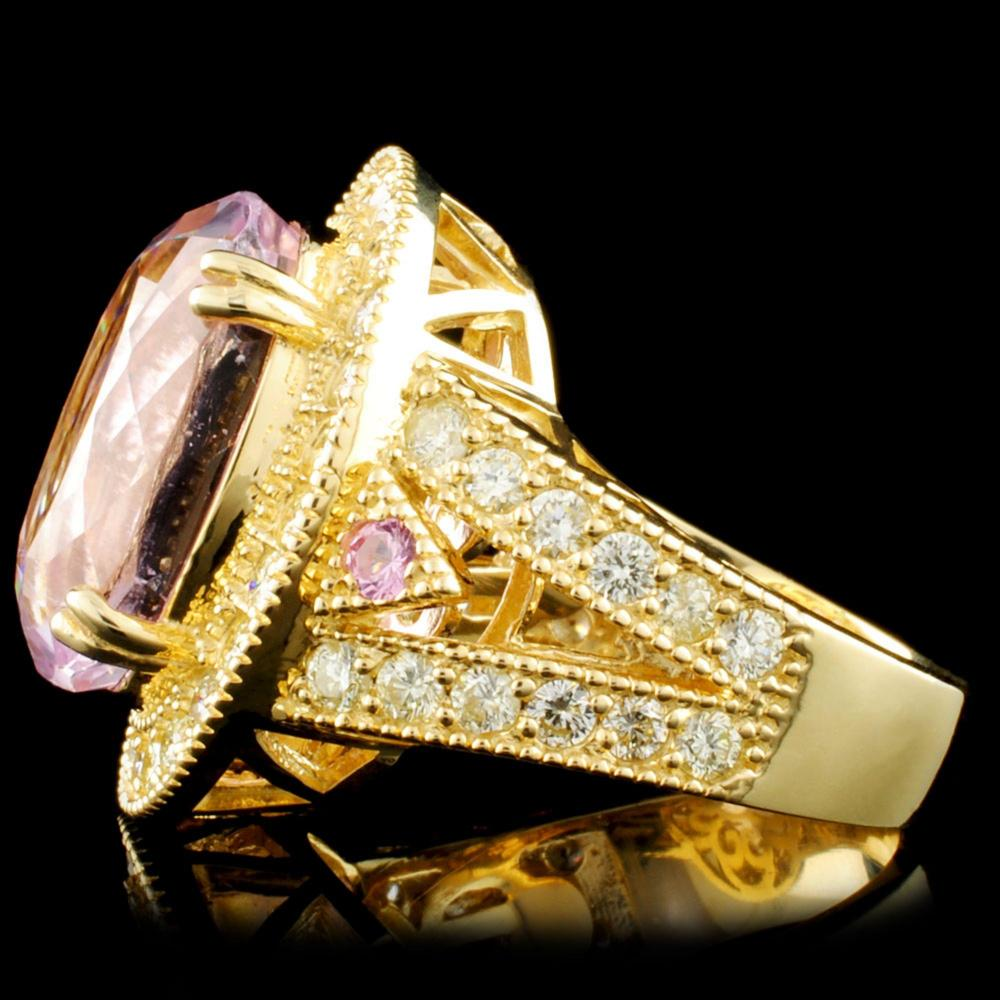 Lot 21: 14K Gold 13.84ct Kunzite & 1.72ctw Diamond Ring