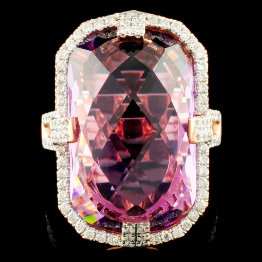 14K Gold 17.24ct Amethyst & 0.62ctw Diamond Ring