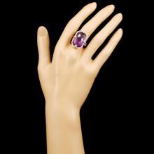Lot 23: 14K Gold 17.24ct Amethyst & 0.62ctw Diamond Ring