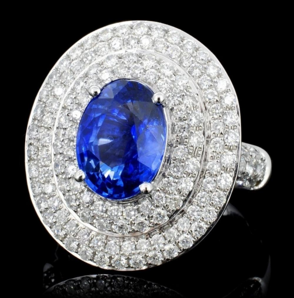 18K White Gold 3.01ct Sapphire & 1.27ct Diamond Ri