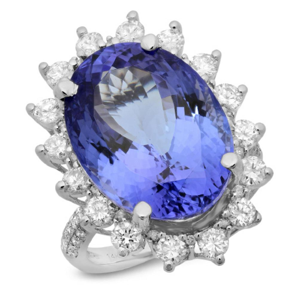14K Gold 16.00ct Tanzanite & 1.50ct Diamond Ring