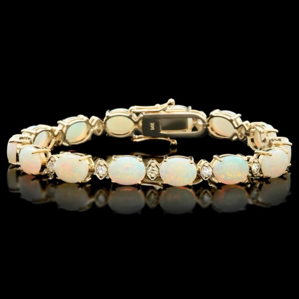 `14k Gold 15.00ct Opal & 1.00ct Diamond Bracelet