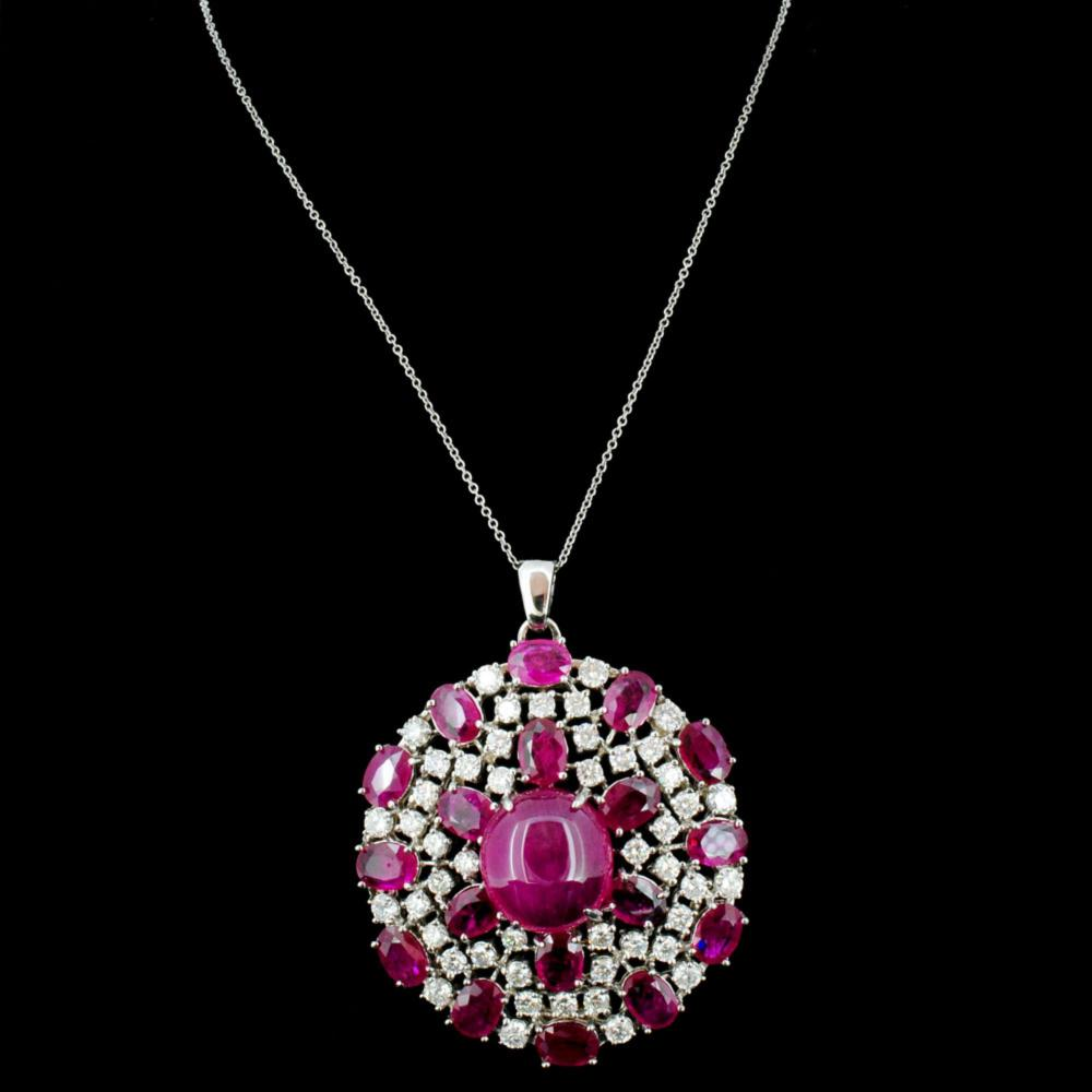 14K Gold 10.00ct Ruby & 1.50ctw Diamond Pendant