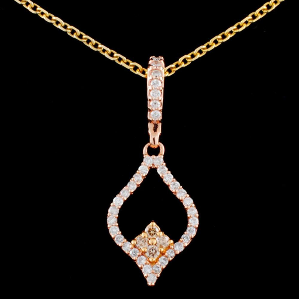 14K Gold 0.35ctw Fancy Diamond Pendant