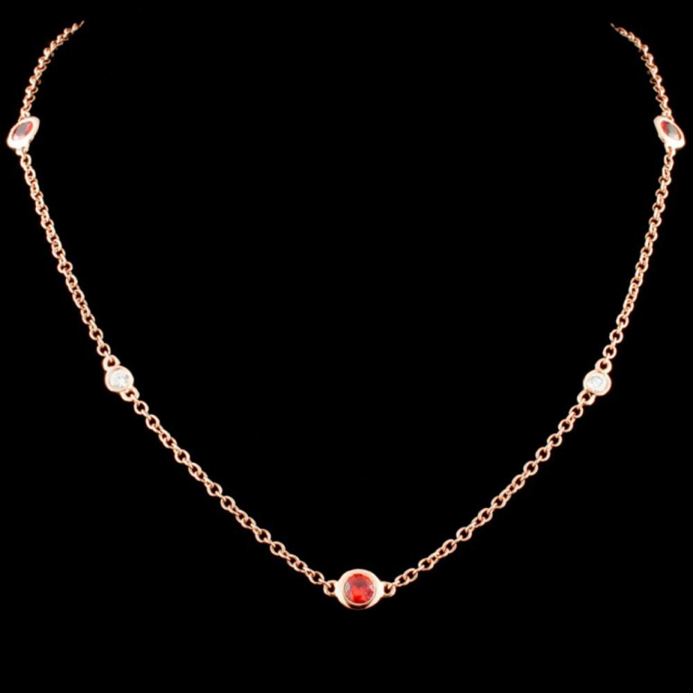 14K Gold 1.27ctw Sapphire & 0.32ctw Diamond Neckla
