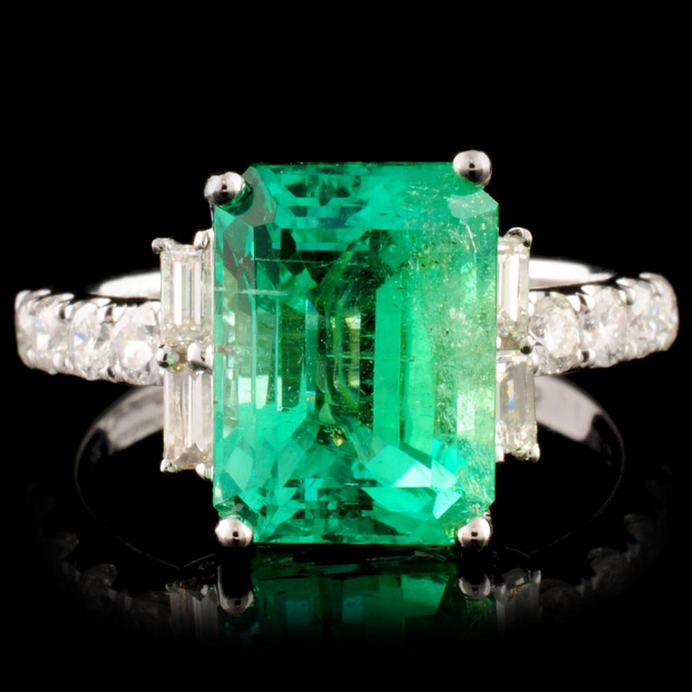18K Gold 3.69ct Emerald & 0.61ctw Diamond Ring
