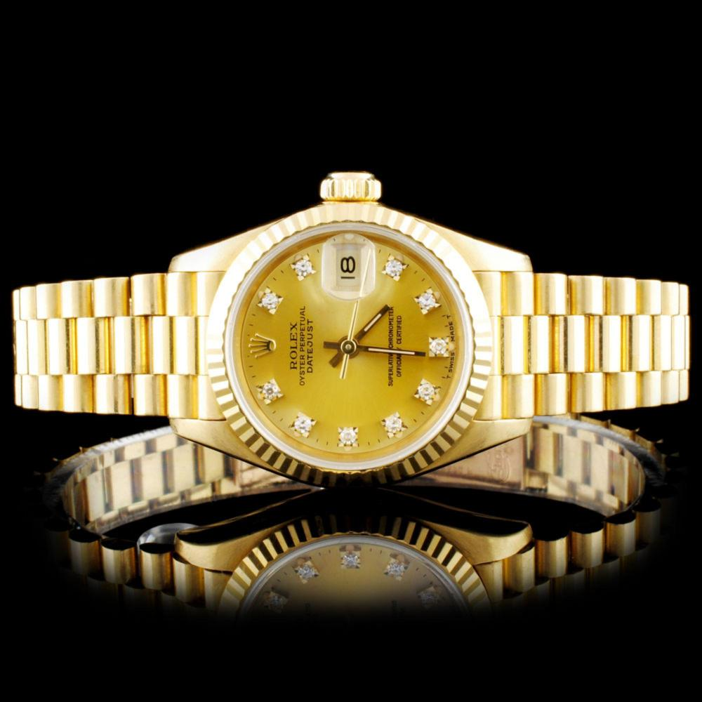 Rolex 18K YG Diamond Ladies Wristwatch