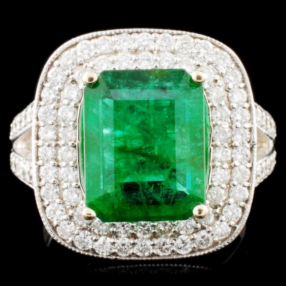 18K Gold 3.80ct Emerald & 1.09ctw Diamond Ring