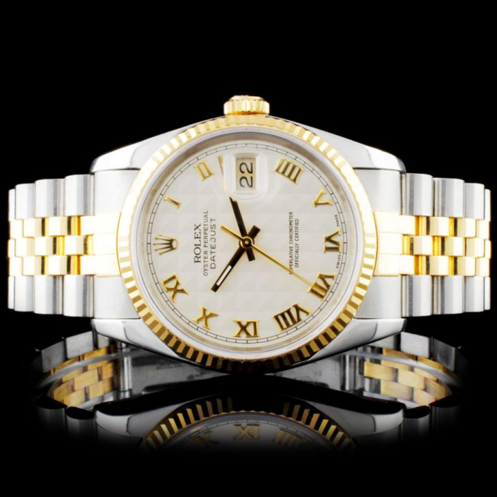 Rolex YG/SS DateJust 36mm Ivory Pyramid Wristwatch