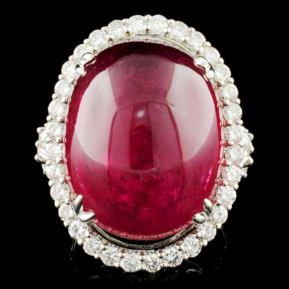 18K Gold 24.95ct Rubellite & 1.61ctw Diamond Ring