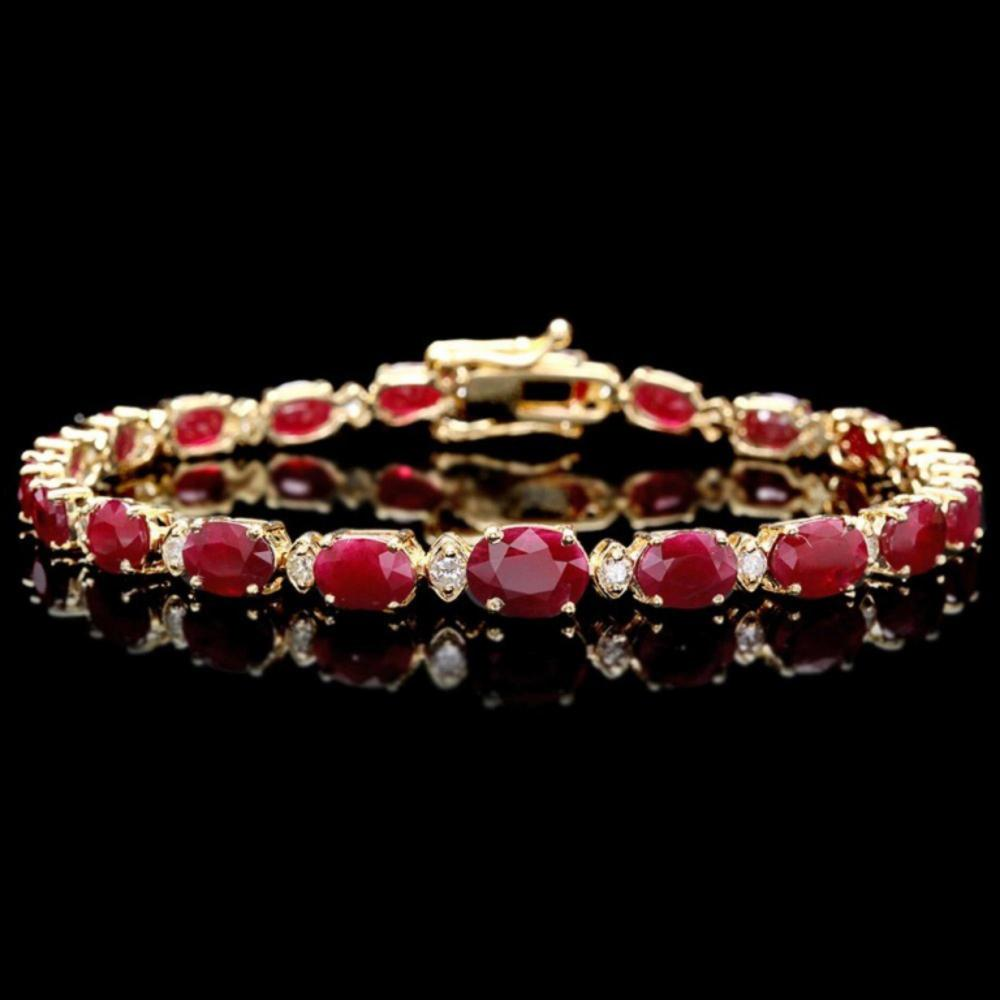 `14k Gold 15.00ct Ruby & 0.50ct Diamond Bracelet