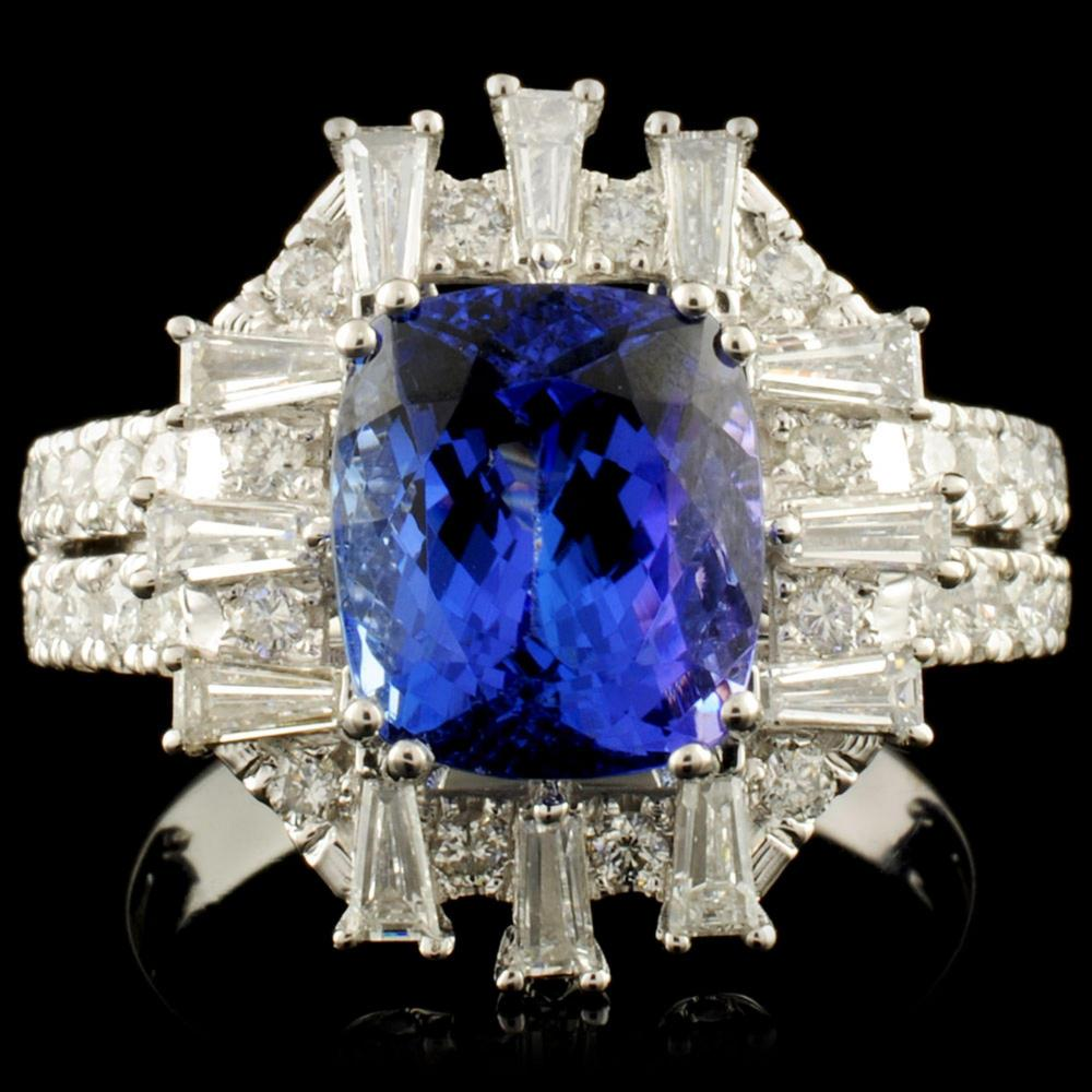 18K Gold 3.59ct Tanzanite & 1.05ctw Diamond Ring