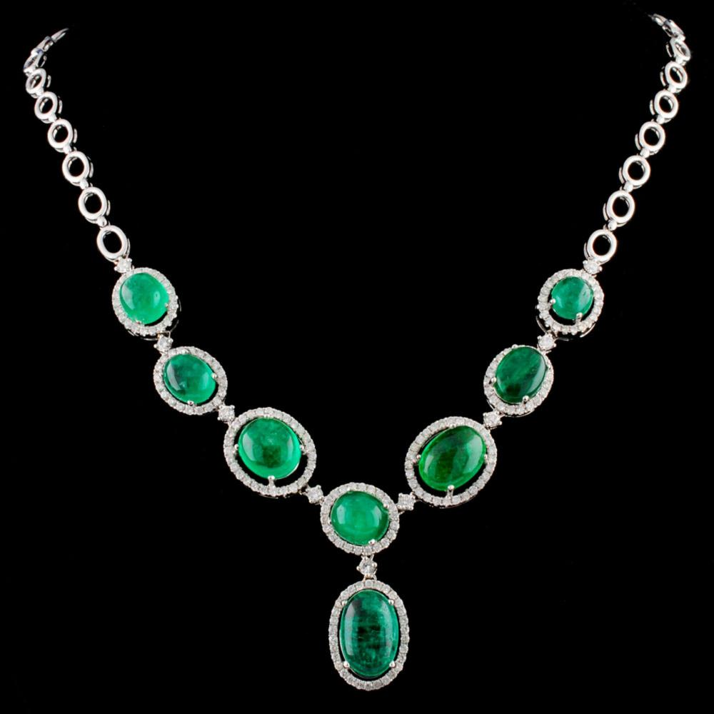 18K Gold 24.76ct Emerald & 2.41ctw Diamond Necklac