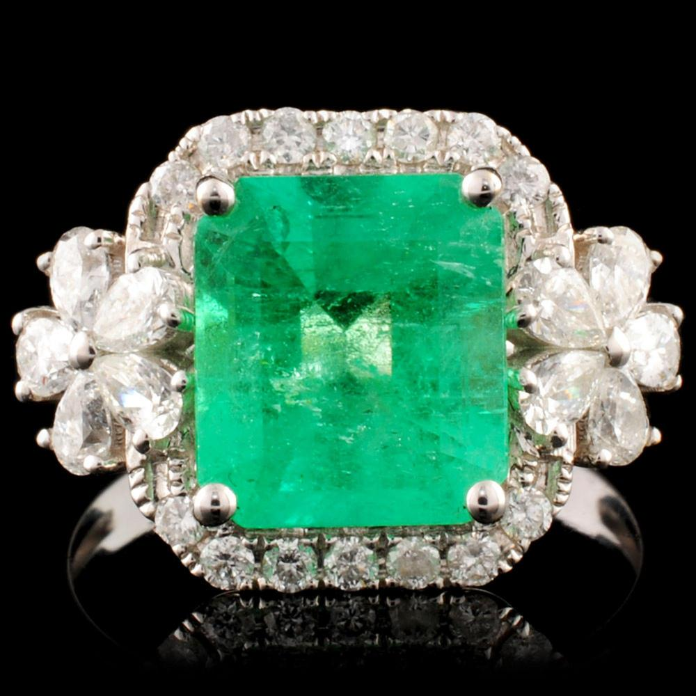 18K Gold 2.60ct Emerald & 0.77ctw Diamond Ring