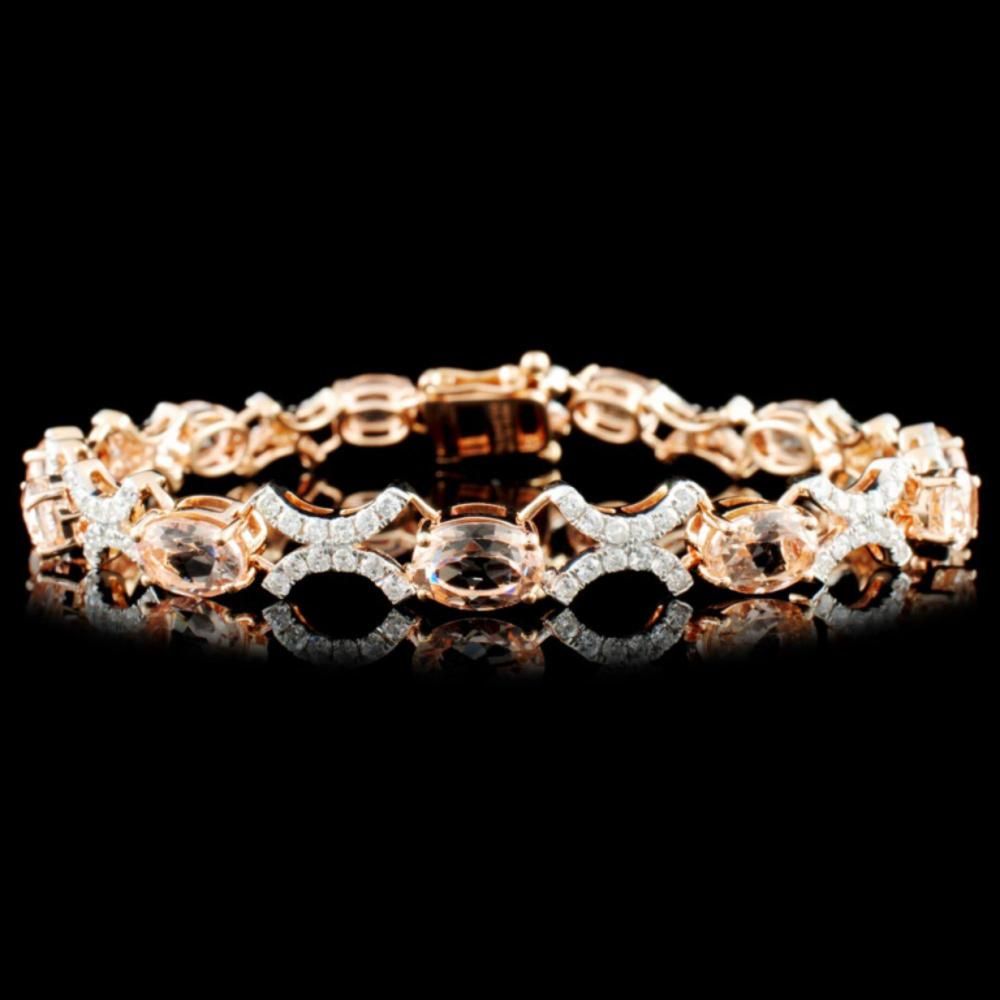 14K Gold 7.80ct Morganite & 1.51ctw Diamond Bracel