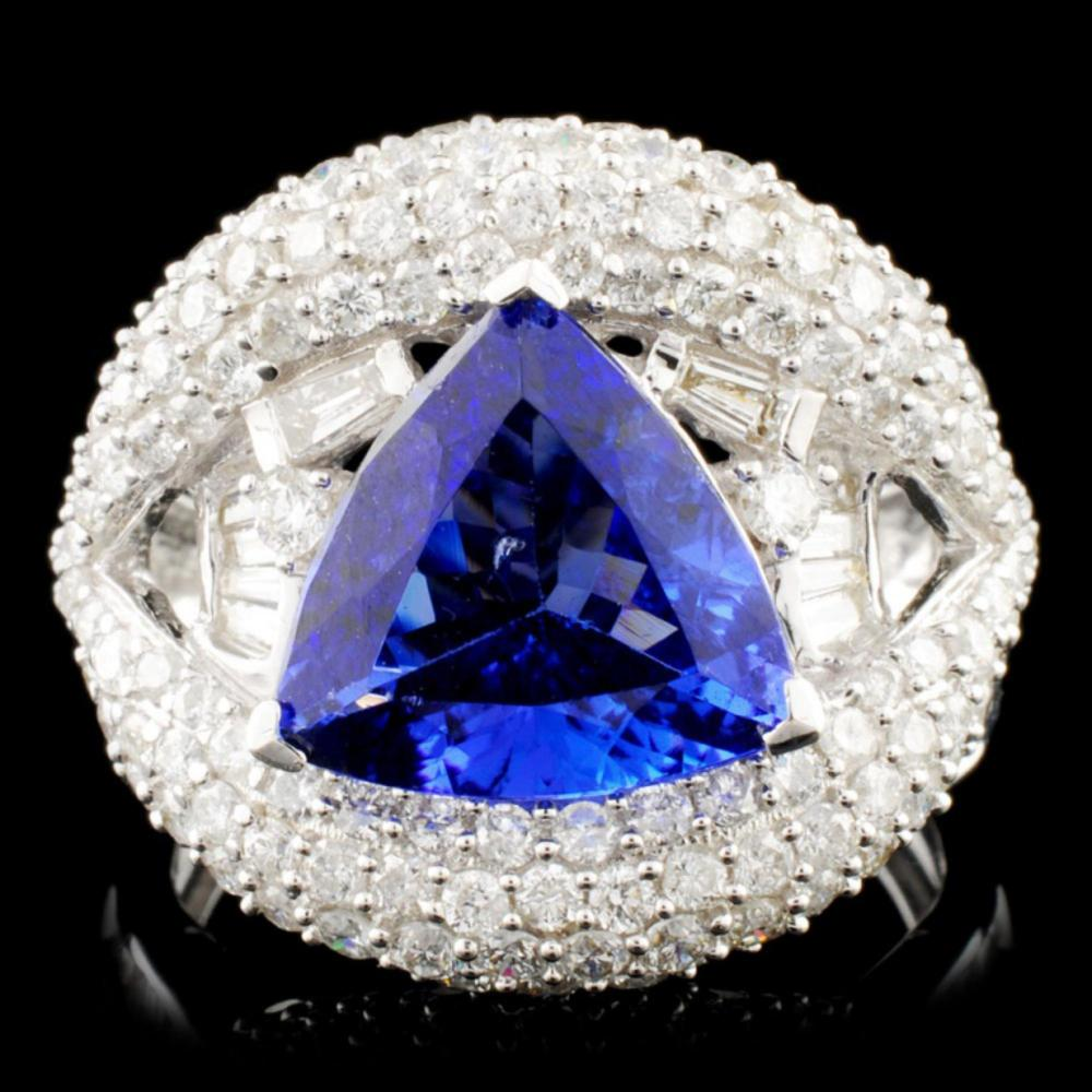 18K Gold 2.63ct Tanzanite 2.10ctw Diamond Ring