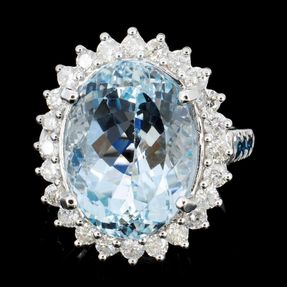 14K Gold 8.00ct Aquamarine & 1.25ctw Diamond Ring