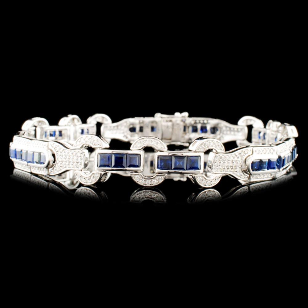 14K Gold 7.82ct Sapphire & 1.30ctw Diamond Bracele