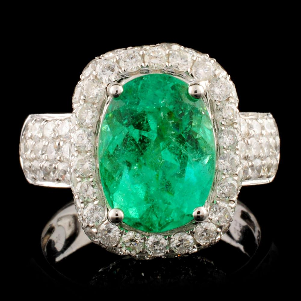 18K Gold 3.60ct Emerald & 2.27ctw Diamond Ring