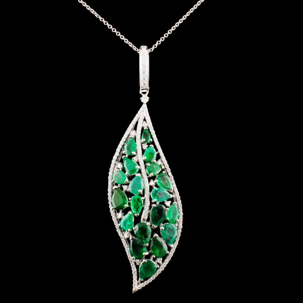 14K Gold 7.93ctw Emerald & 1.05ctw Diamond Pendant