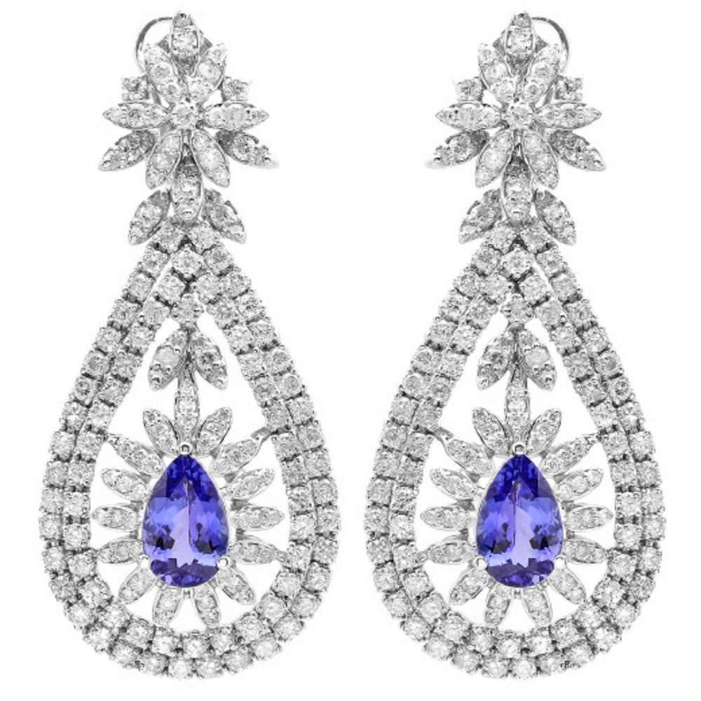 14K Gold 6.00ct Tanzanite & 7.20ct Diamond Earring