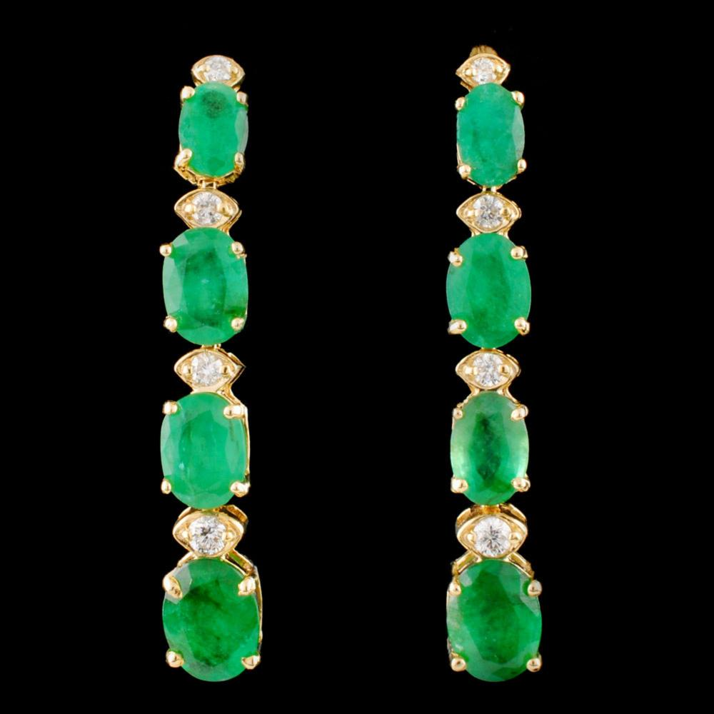 14K Gold 6.50ct Emerald & 0.35ctw Diamond Earrings