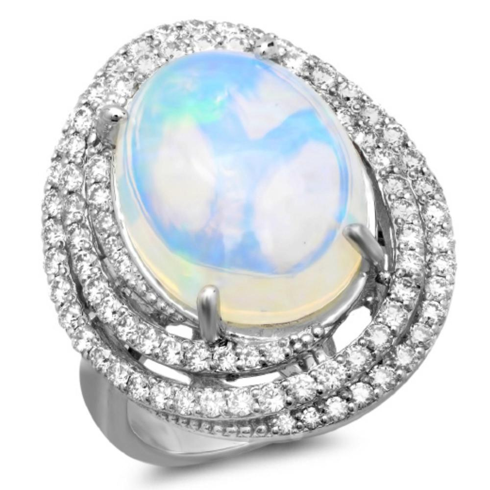 14K Gold 7.00ct Opal & 1.30ct Diamond Ring