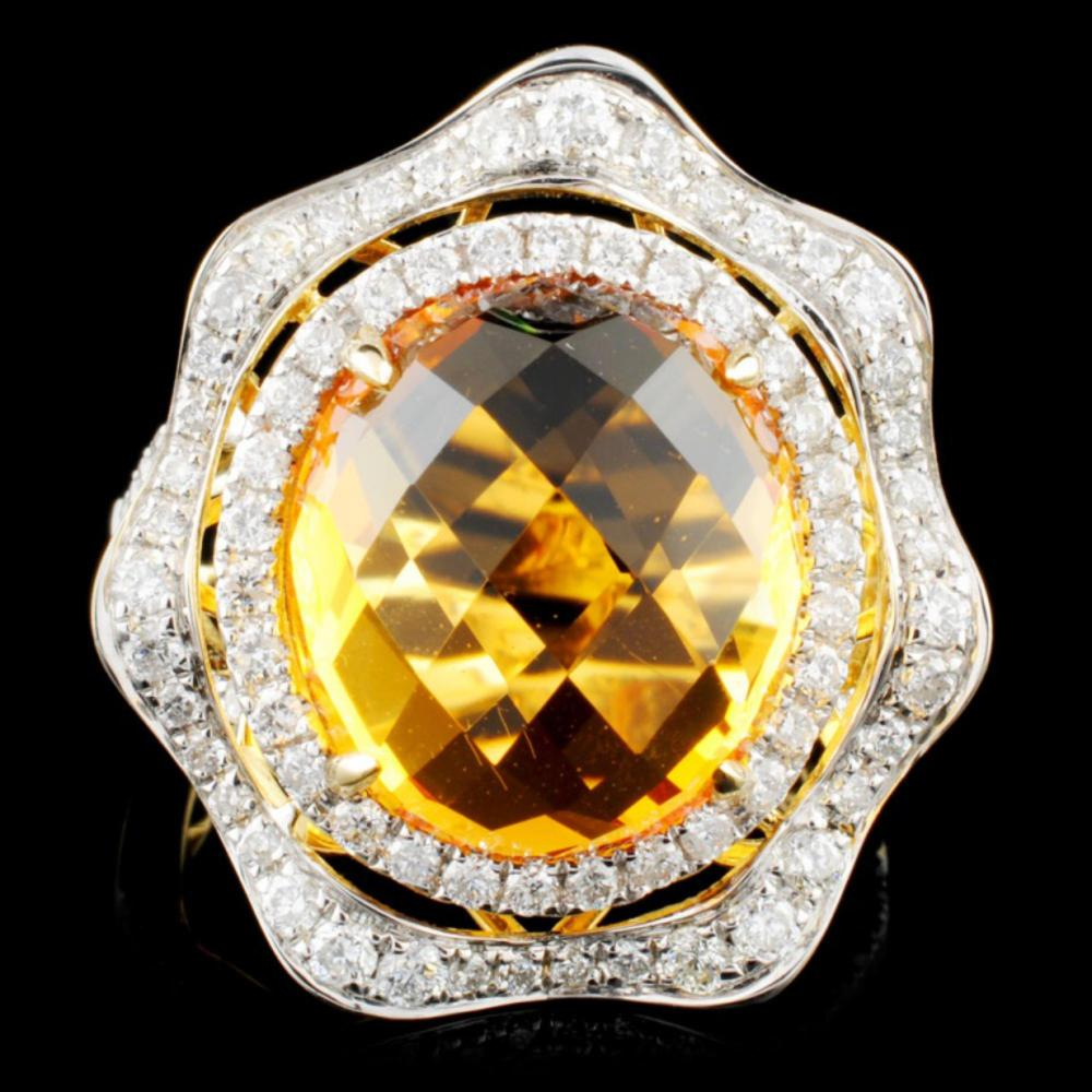 14K Gold 7.27ct Citrine & 0.90ctw Diamond Ring