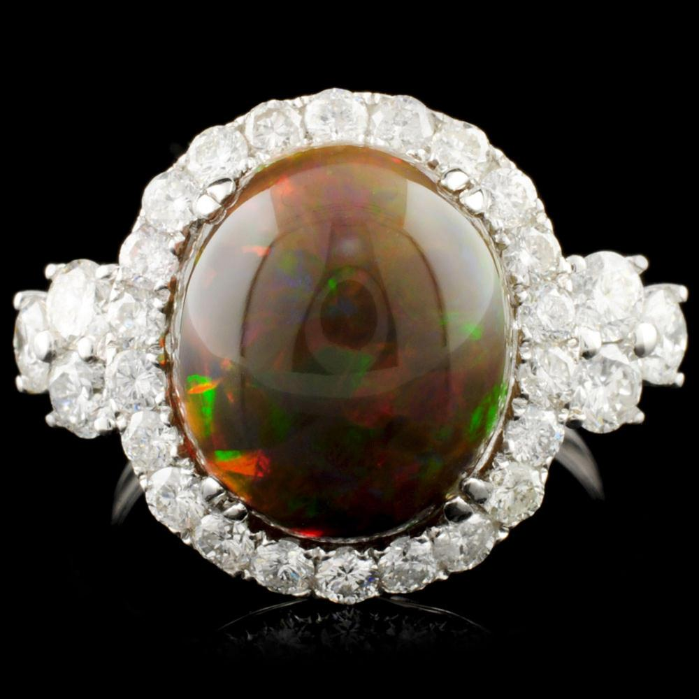14K Gold 4.45ct Opal & 1.43ctw Diamond Ring