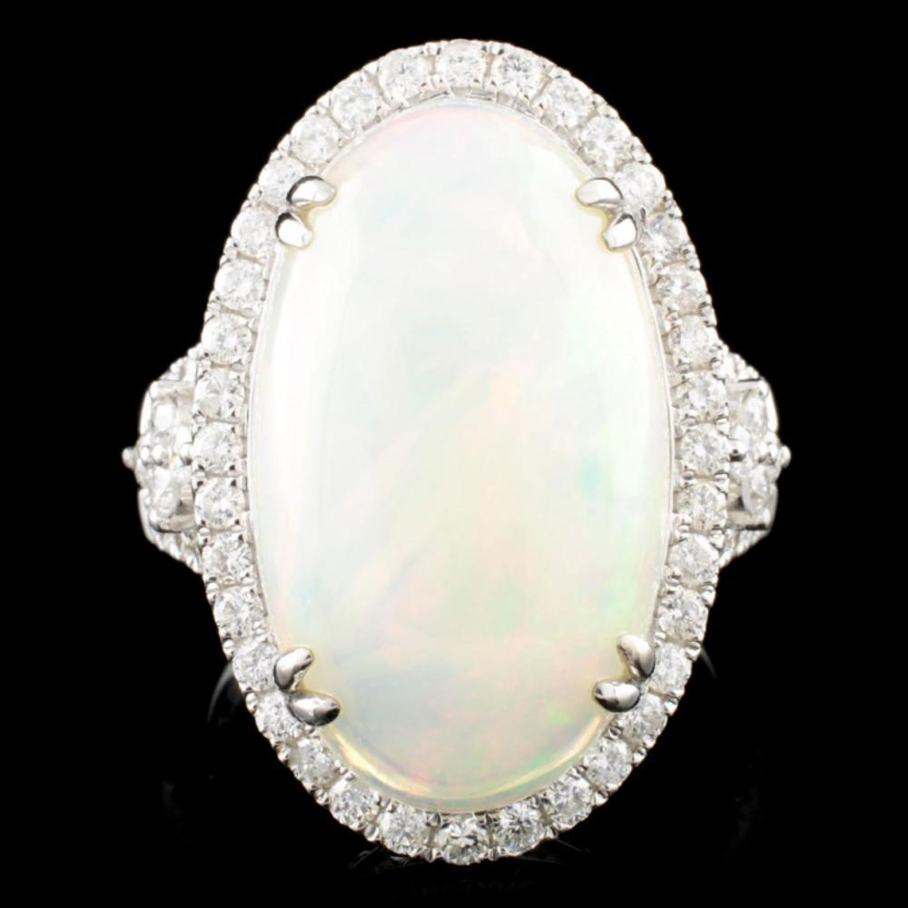 14K Gold 7.37ct Opal & 0.99ctw Diamond Ring