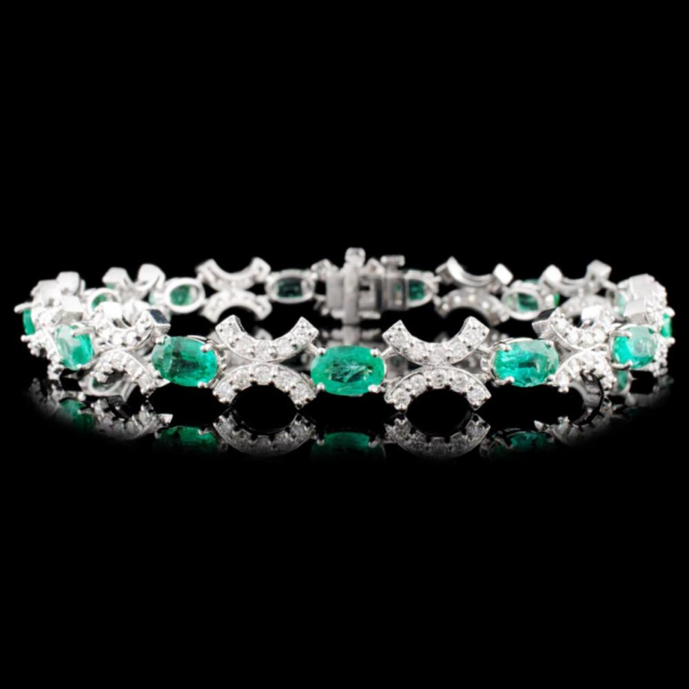 14K Gold 6.10ctw Emerald & 1.85ctw Diamond Bracele