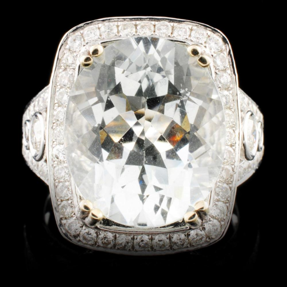 14K Gold 7.38ct Aquamarine & 1.45ctw Diamond Ring