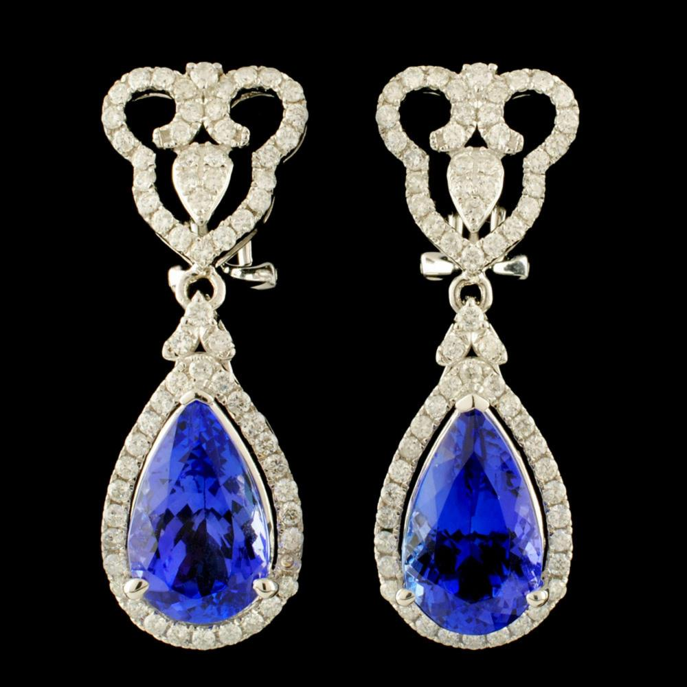 14K Gold 8.65ct Tanzanite & 1.27ctw Diamond Earrin