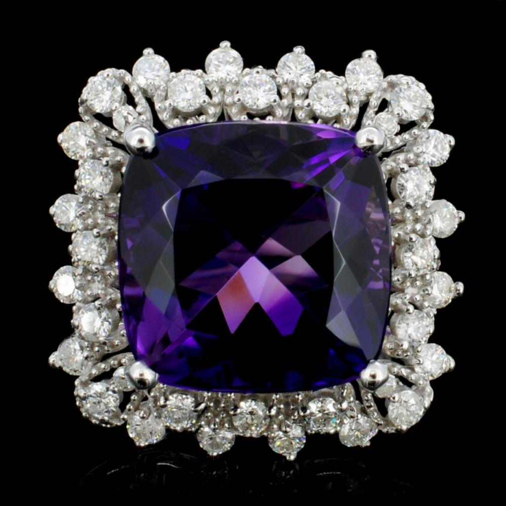 14K Gold 5.00ct Amethyst & 1.00ctw Diamond Ring