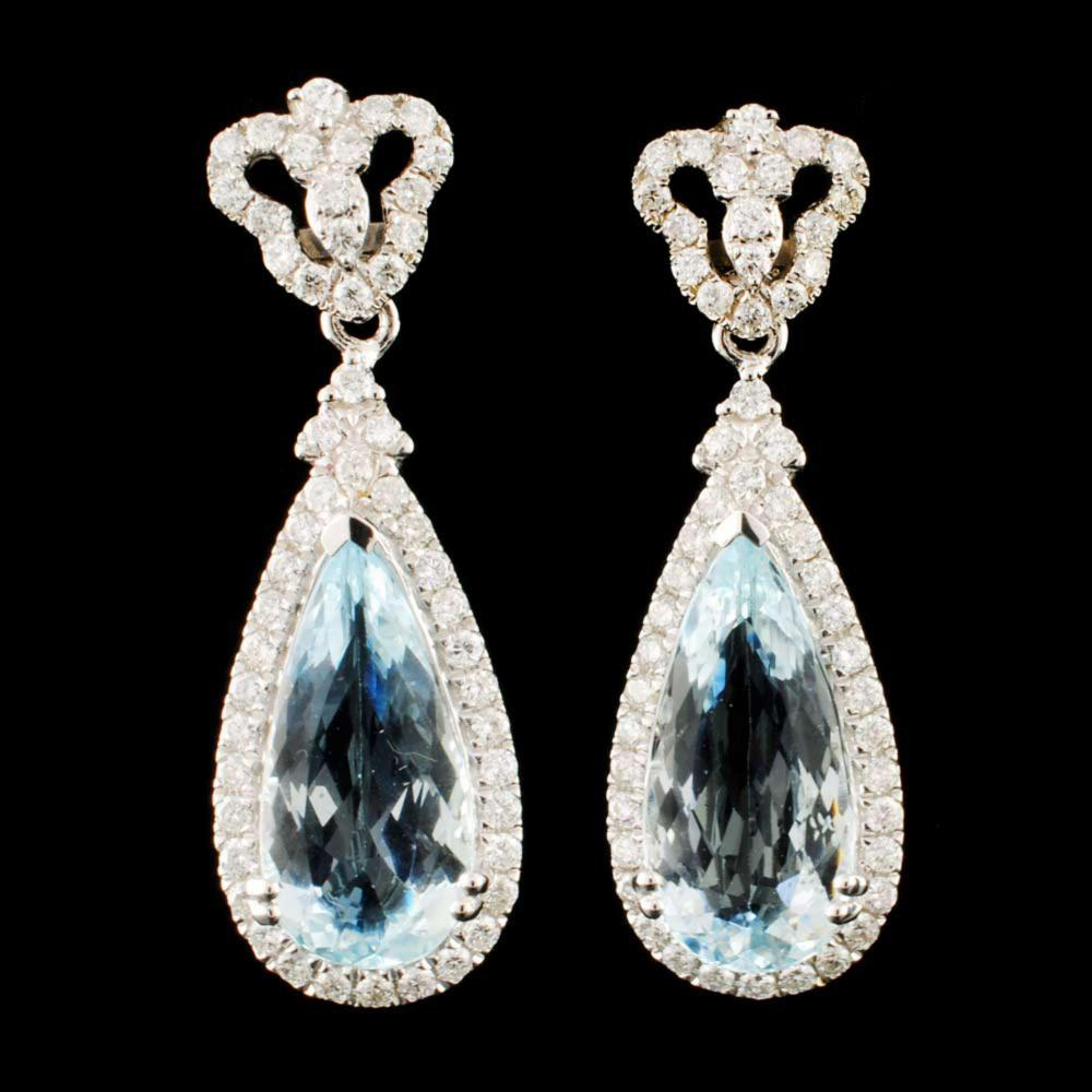 14K Gold 6.13ct Aquamarine & 1.05ctw Diamond Earri