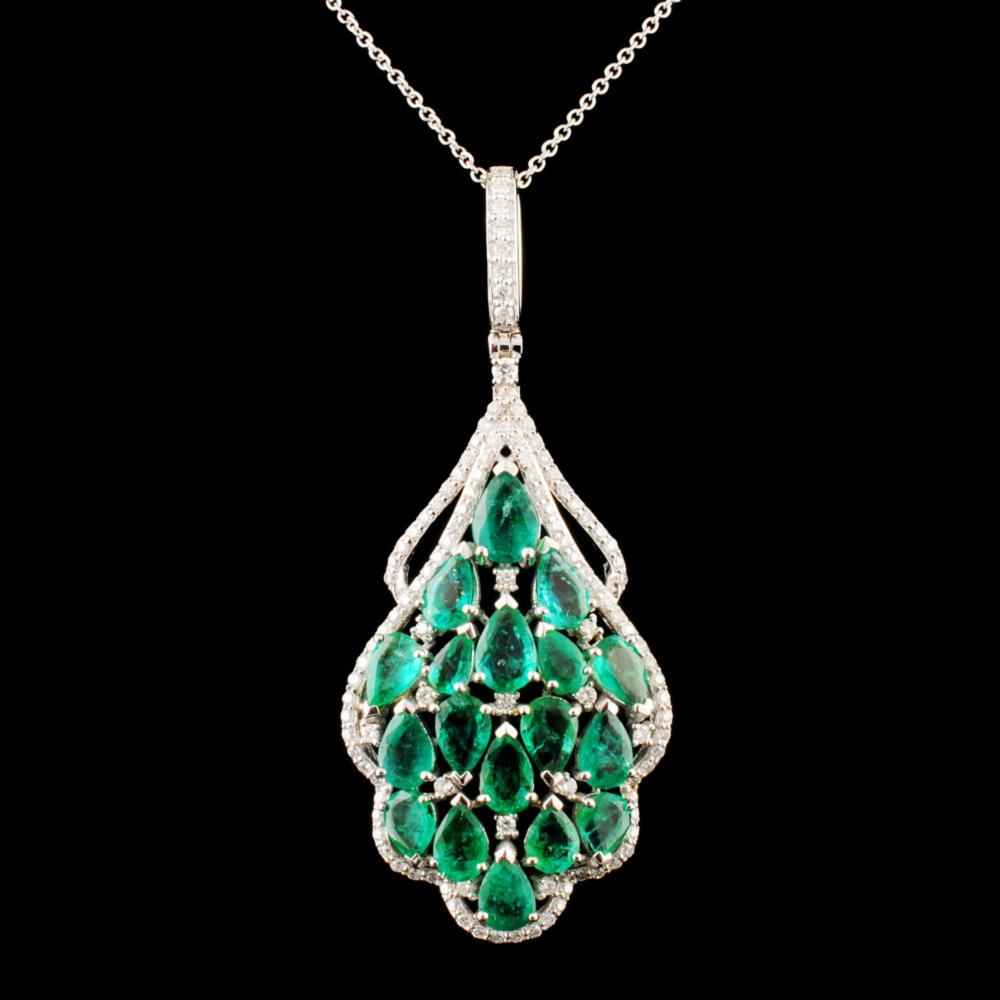 14K Gold 6.58ctw Emerald & 0.87ctw Diamond Pendant
