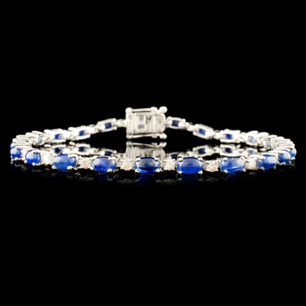 14K Gold 8.68ct Sapphire & 0.95ctw Diamond Bracele