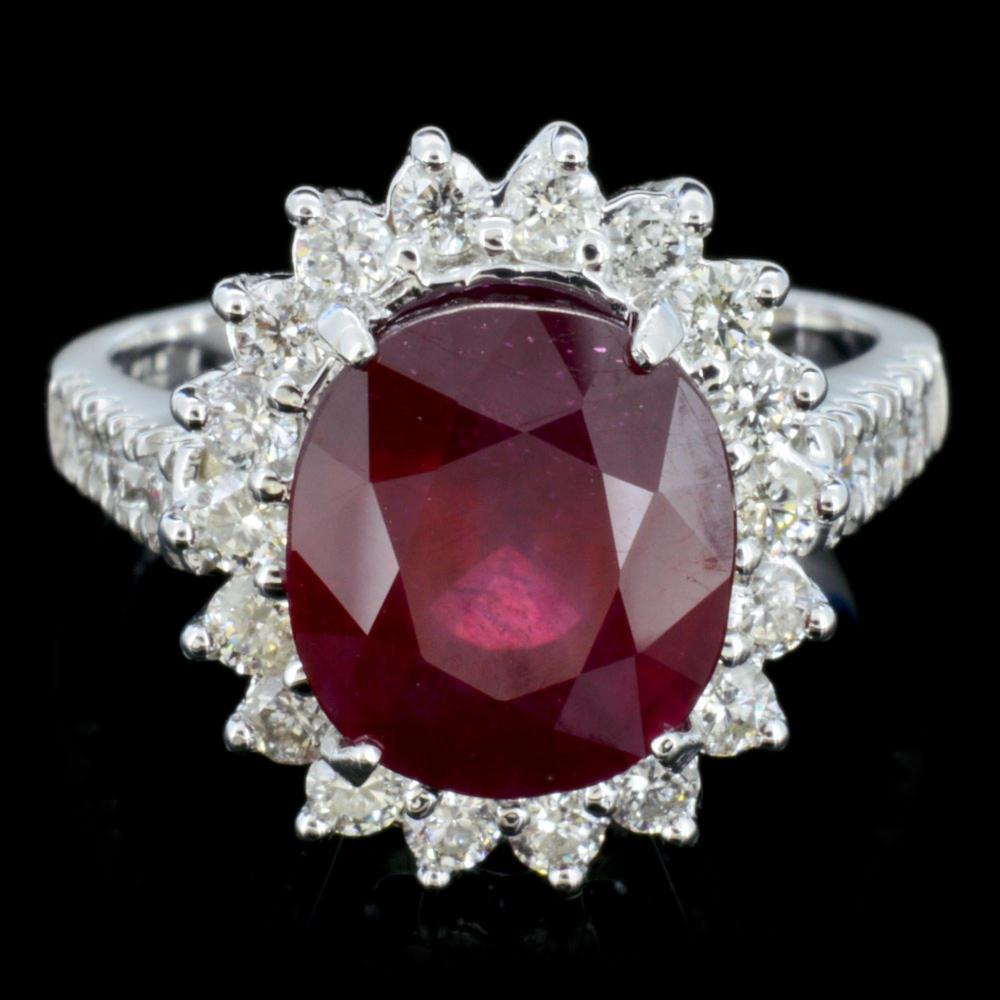 14K Gold 5.00ct Ruby & 1.25ctw Diamond Ring